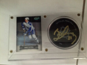 Borje Salming autographed puck and card