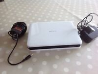 Sony portable DVD player, with mains and car charger