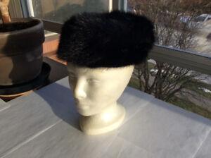 Vintage Black Pillbox Fur Hat