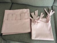 Pink & White Gingham Curtains + 2 Large Cushion Covers, Matching VGC