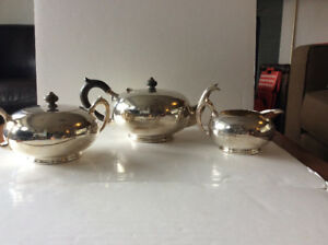 3 Piece Rogers Silverplate Tea Set | Creamer + Sugar Bowl + Pot