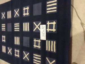 Blue and white IKEA patterned area rug