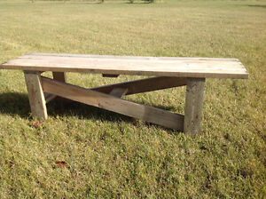 Rustic event wooden benches