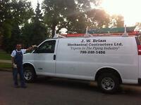 Certified Plumber/Gas Fitter.  J.W. Brian Mechanical.