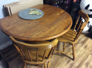 Maple Dropleaf Table and Two Chairs