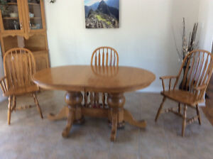 Dining room table, chairs and hutch solid oak
