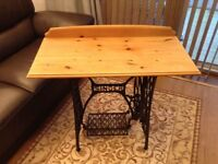 Solid wood side table or desk with cast iron stand