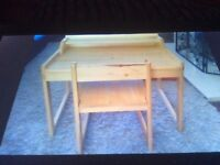 Wooden child's desk and chair as new