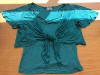 Green top and shrug size 14