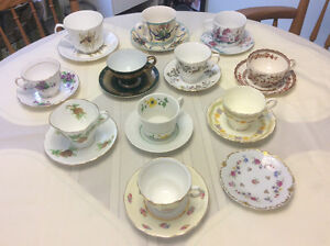 Vintage antique china - cups and saucers