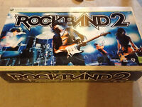 ROCKBAND 2 BUNDLE XBOX 360 - Full Set with Box Hardly Used!