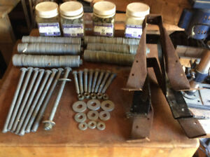 Carriage bolts, lag screws, steel joist hangers