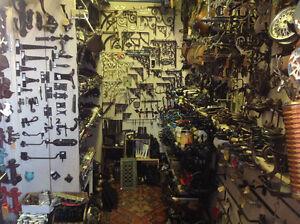 Repurpose materials, cast brackets, hinges, pulls, knobs, rugs,