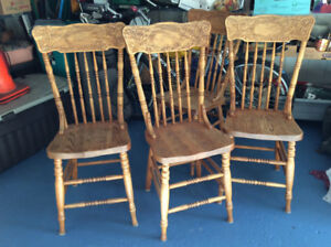 Mennonite Oak carved back chairs ,,,4 chairs.