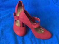 Red suede & snakeskin shoes