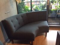 Semi circle bay window 3 seater sofa in blue (new)