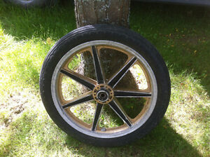 HARLEY FRONT RIM AND TIRE
