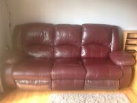 Three seater Italian Leather reclining sofa . From Carters of Kidderminster.