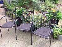 3 metal and rattan chairs (extra Christmas seating)