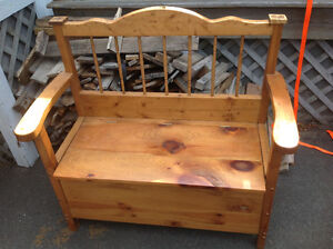 Moving sale wooden storage bench