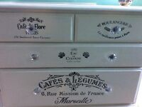 Annie Sloan white chest of drawers large bottom drawer