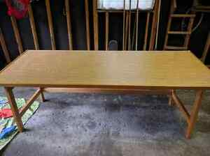 "96"" solid wood table, slanted top"