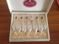 Royal Albert old country rose gold plated cake forks