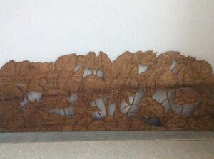 Vintage mid century modern large solid teak wood hand carved art