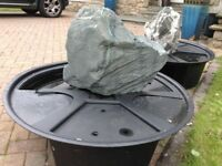 2 heavy duty drilled slate water feature with sump and pump