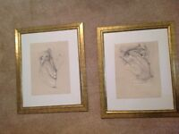 2 x Wall Pictures in Frames, Sexy semi-nude, tasteful ladies, pencil Drawings