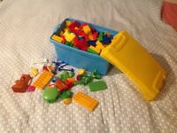 Set of Building Blocks Like Duplo with Extras and Storage Box