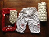 Cricket thigh pads with undershorts, small men's.