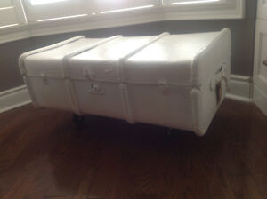 White Antique Painted Trunk Table with Casters