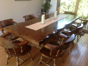 Vintage One of a kind Pine Table & 8 Captain Chairs
