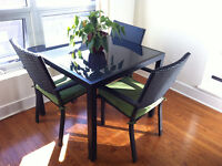 Square patio table and 4 chairs