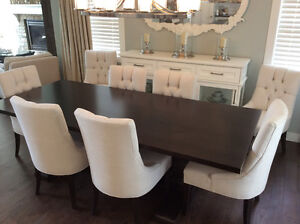 GEOVIN Dining table w/2 leaves & 8 chairs *like BRAND NEW