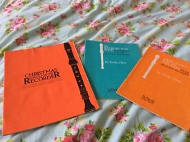 Christmas recorder book and two other recorder books