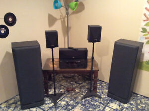 KENWOOD AMP with 5 SURROUND SOUND SPEAKERS.