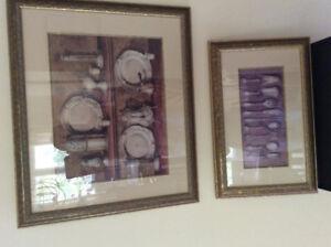 Framed dining room prints