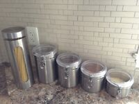 5 Stainless Steel Kitchen Counter Decorative Storage Containers