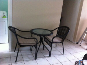 Bistro Patio Set, Indoor / Outdoor, Table w/Glass Top & 2 Chairs