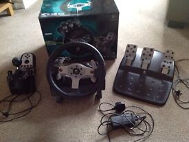 Logitech steering wheel and pedals with shifter for sale