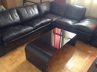 Leon's Leather Sofa with a Leon's Coffee Table