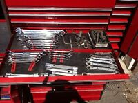 Mechanics tool box and tools mostly snap on tools
