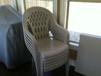 6 chaises de jardin beige