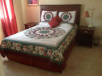Queen Bed with Wooden Headboard & matching Bedside Cabinets
