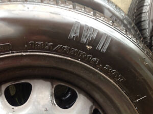 4 tires with rims Motomaster 185/65R14, very good condition
