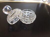 Lead crystal cut glass dish