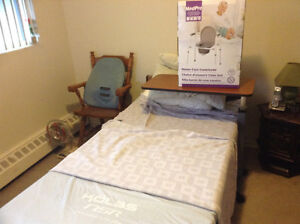 Electric hospital bed and table and commode