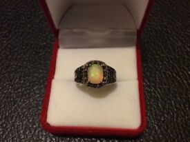 Real opal ring set real champagne diamonds